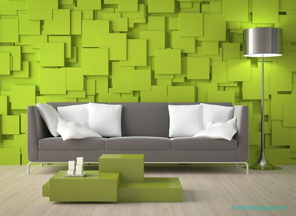 Yeşil renkli duvar kağıdı modelleri