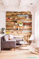 Rengarenk tahtalarla duvar tasarımı