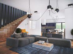 Siyah merdiven dizaynı