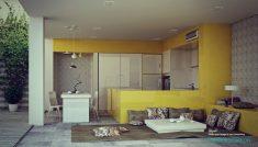 Bahçeye Açılan Sarı Mutfak Modeli