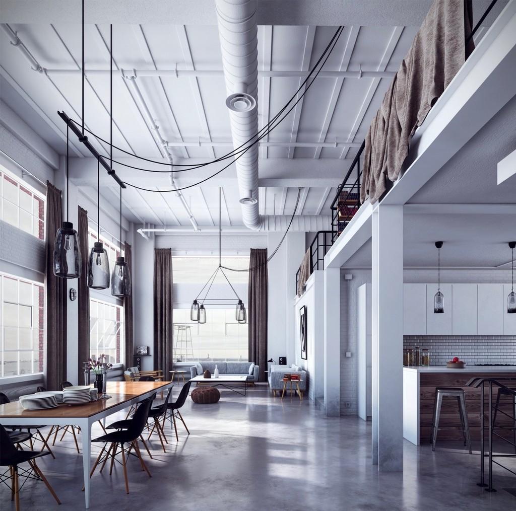 Beyaz renklerde loft ev dizaynı