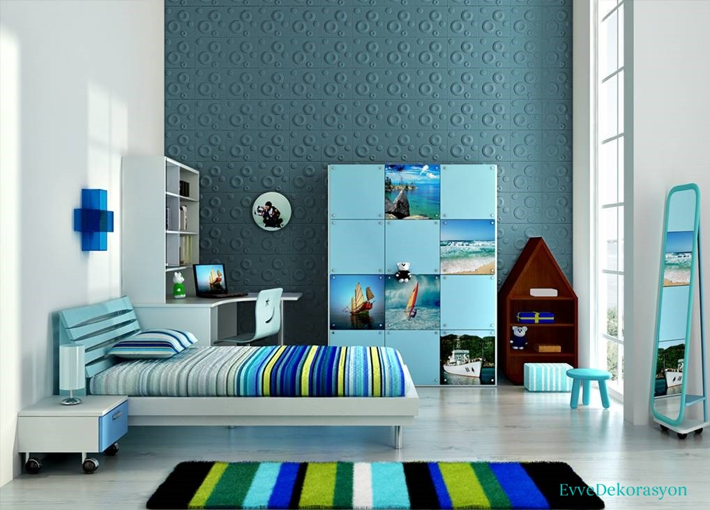 Genç Odası Mavi Duvar Kağıdı