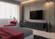 Pembe ve gri renklerde yatak odası stili