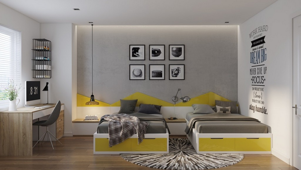 Sarı ve gri yatak odası