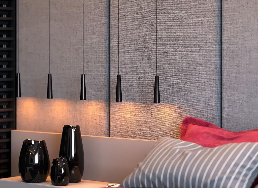 Gri, siyah ve pembe renklerde yatak odası tasarımı