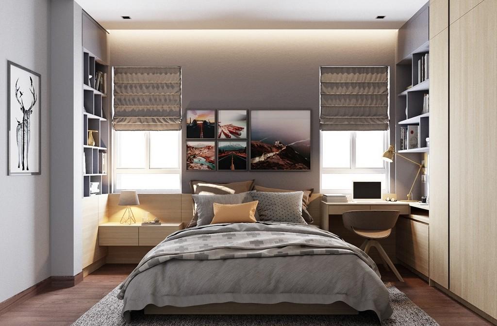 Sade mat renklerde yatak odası dekorasyonu