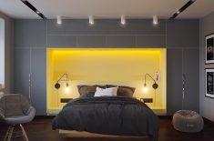 Gri yatak odası uyumlu renkler