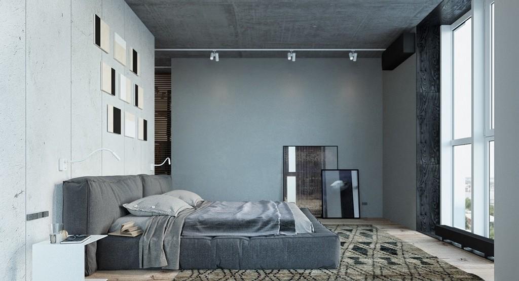 Gri ve açık mavi yatak odası