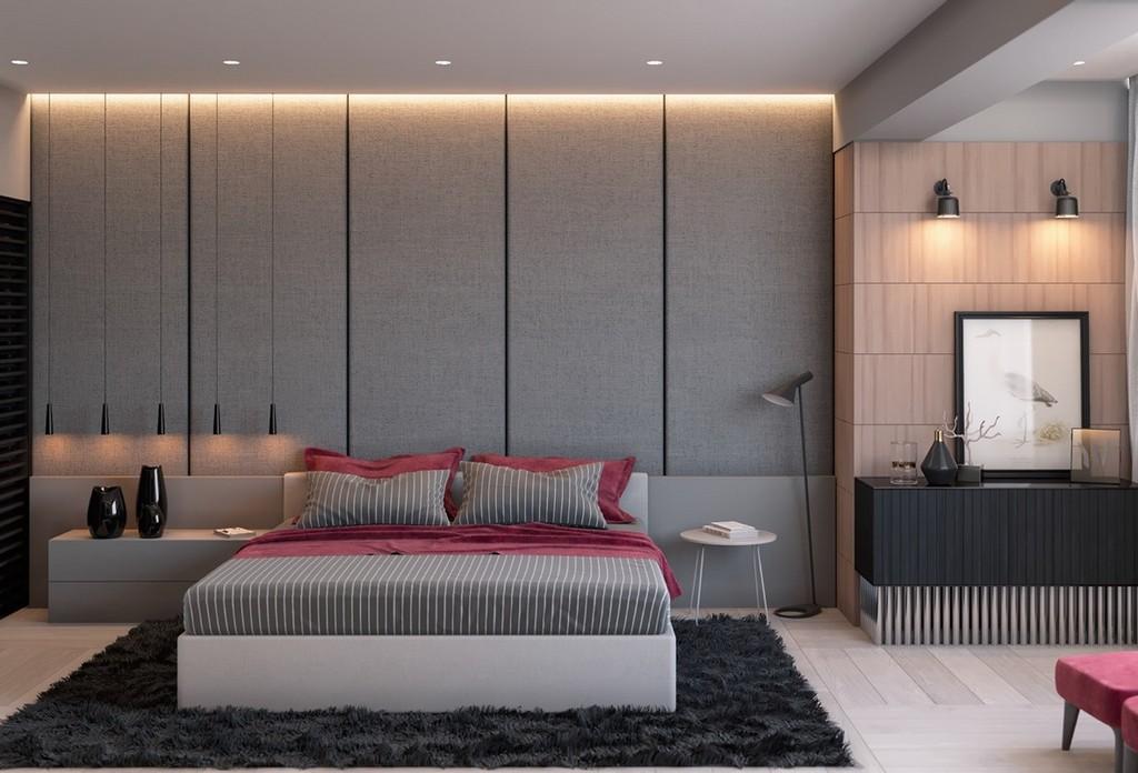 Doğayla uyumlu gri rengi yatak odası dekorasyonu