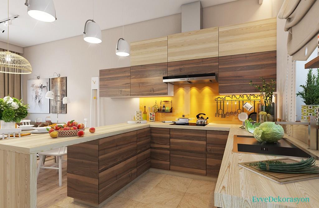 Harika Sarı Backsplash Mutfak
