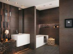 Kahverengi tonlarda banyo tasarımı