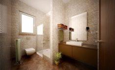 Kahverengi beyaz banyo tasarımı
