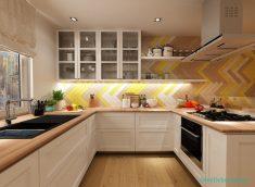 Kahverengi Sarı Mutfak Dekorasyonu