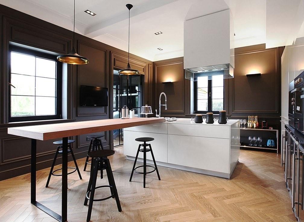 Koyu renk ve siyah açık mutfak modelleri
