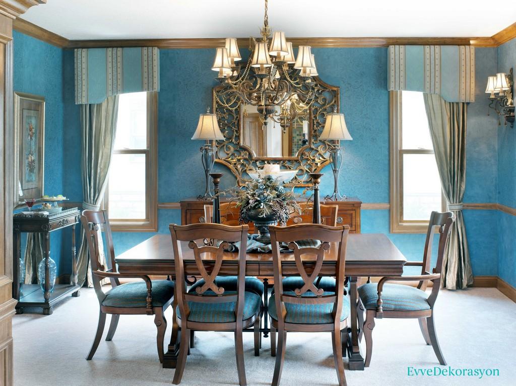 Mavi yemek odası modelleri