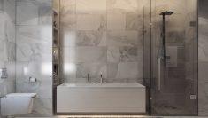 Beyaz çizgili mermer banyo stilleri