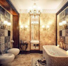 Kahverengi mermer banyo dekorasyonu