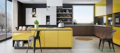 Sarı Ahşap Dekoratif Mutfak