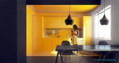 Sarı mutfak dolabı modeli