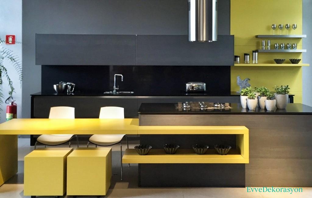 Sarı siyah mutfak modelleri