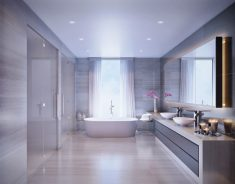 Geniş Beyaz Mermer Banyo Stili