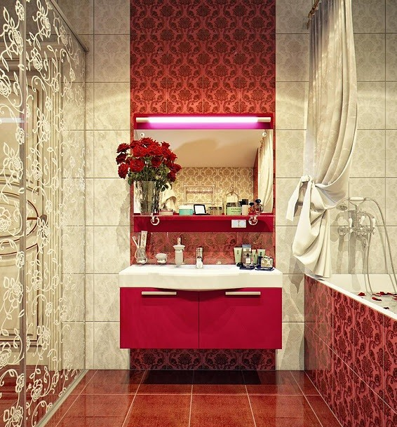 Banyolarda kırmızı dolap kullanımı