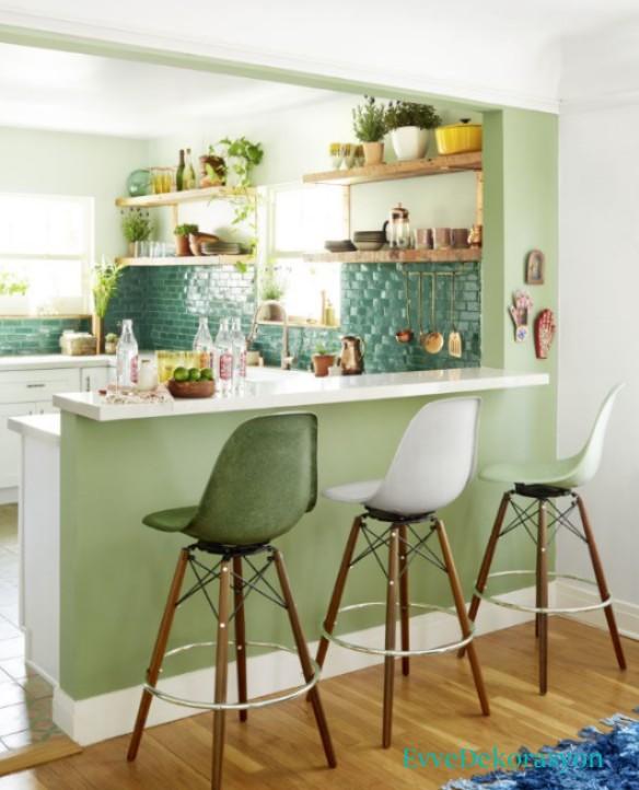 2017 fıstık yeşili mutfak modeli