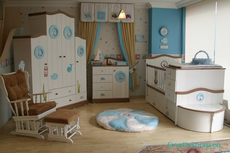 Açık Mavi Bebek Odası