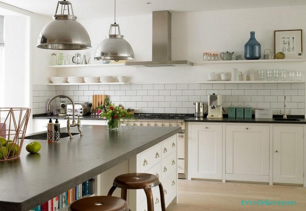 Beyaz Mutfak Dolabı Gri Tezgah Renk Uyumu