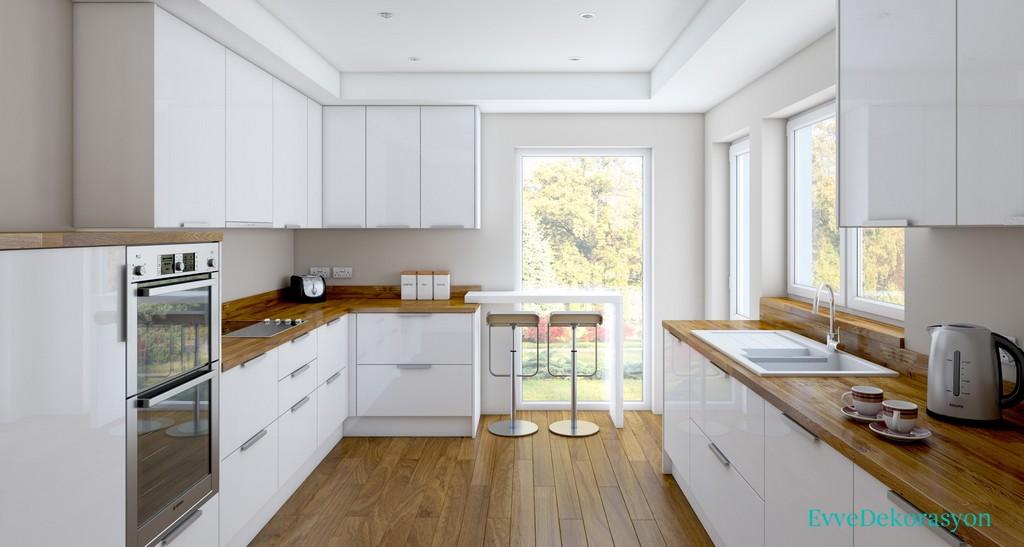 Beyaz mutfak Dolabı ve Kahverengi Tezgah Seçimi