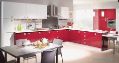 Bordo Renkli Hazır Mutfak Tasarımları