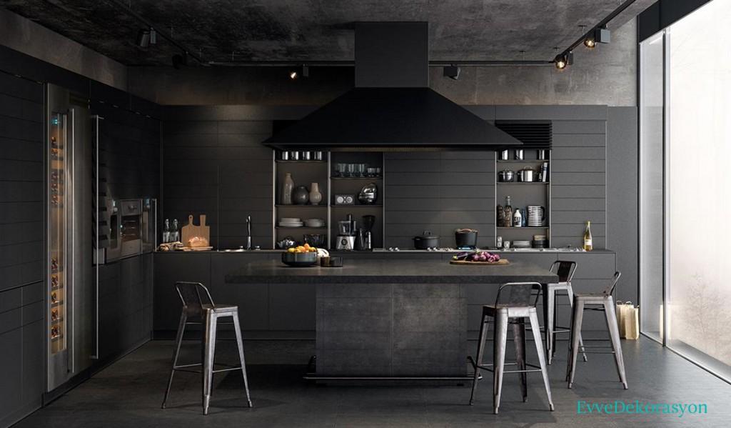 Siyah Endüstriyel Mutfak Modelleri
