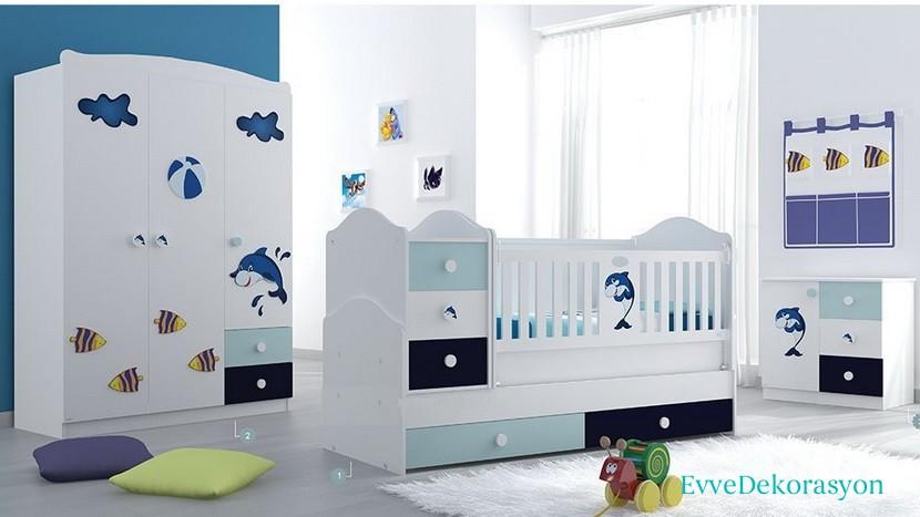 Mavi Tonlarında Bebek Odaları