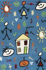 Mavi Renkli Tüysüz Çocuk Odası Halıları