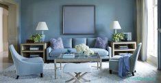 Mavi Renkli Oturma Odası Duvarları