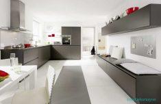 Gri Mutfak Dolap Tasarımı