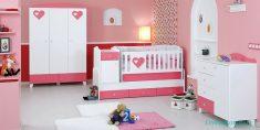 Pembe Renk Tonlarında Kız Bebek Odaları