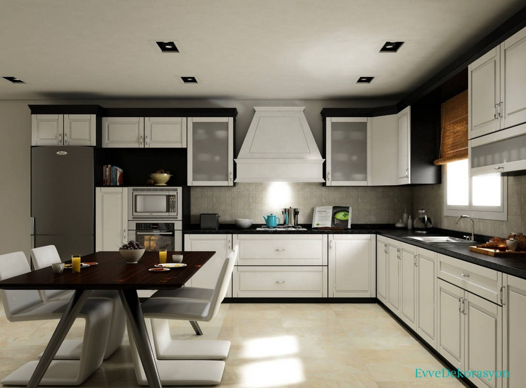 Harika Beyaz Mutfak Dolap Tasarımı