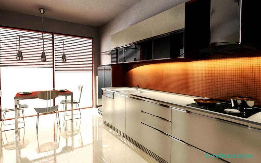 Duvara Dayalı Düz Modüler Mutfak Fikirleri