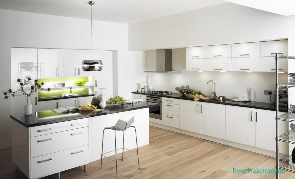 Işıl Işıl Beyaz Mutfak Dolap Tasarımları