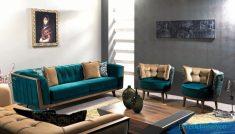 Turkuaz Renkli Koltuklarla Salon Dekorasyonu