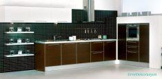 Kahve Rengi Modüler Mutfak Dolap Modelleri