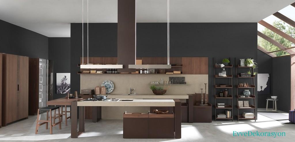 Kahverengi İtalyan Stili Mutfak Modeli