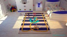 Mavi Desenli Erkek Çocuk Odası Halısı