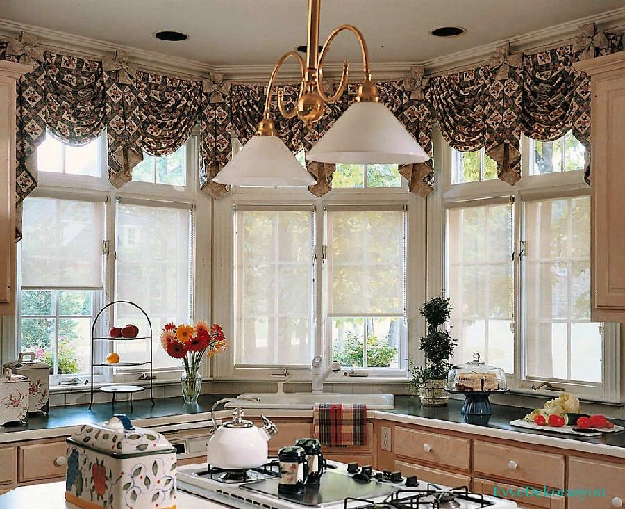 Mutfak Sarkan Pencere Perde Modelleri