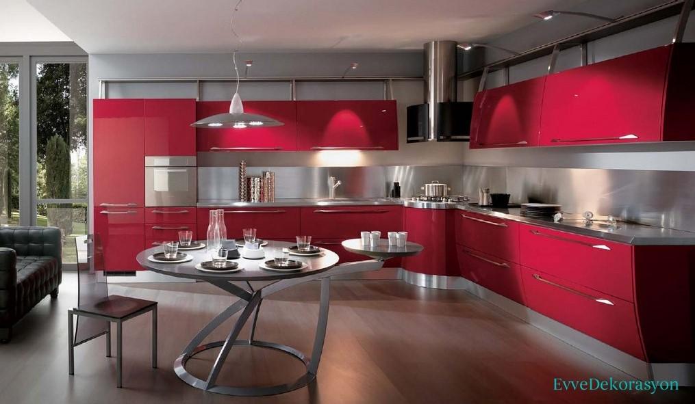 Kırmızı İtalyan Mutfak Modelleri