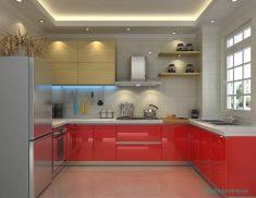 Kırmızı Renk Lake Mutfak Dolap Tasarımları Ve Fikirleri