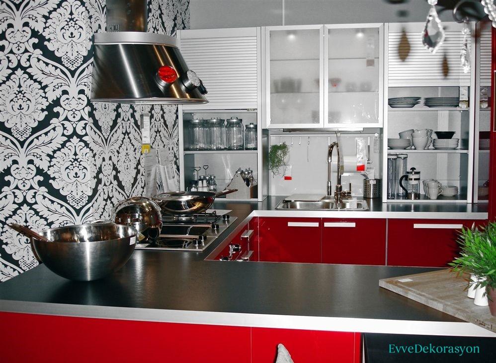 Mutfaklarda Siyah Motifli Duvar Kağıdı Fikirleri