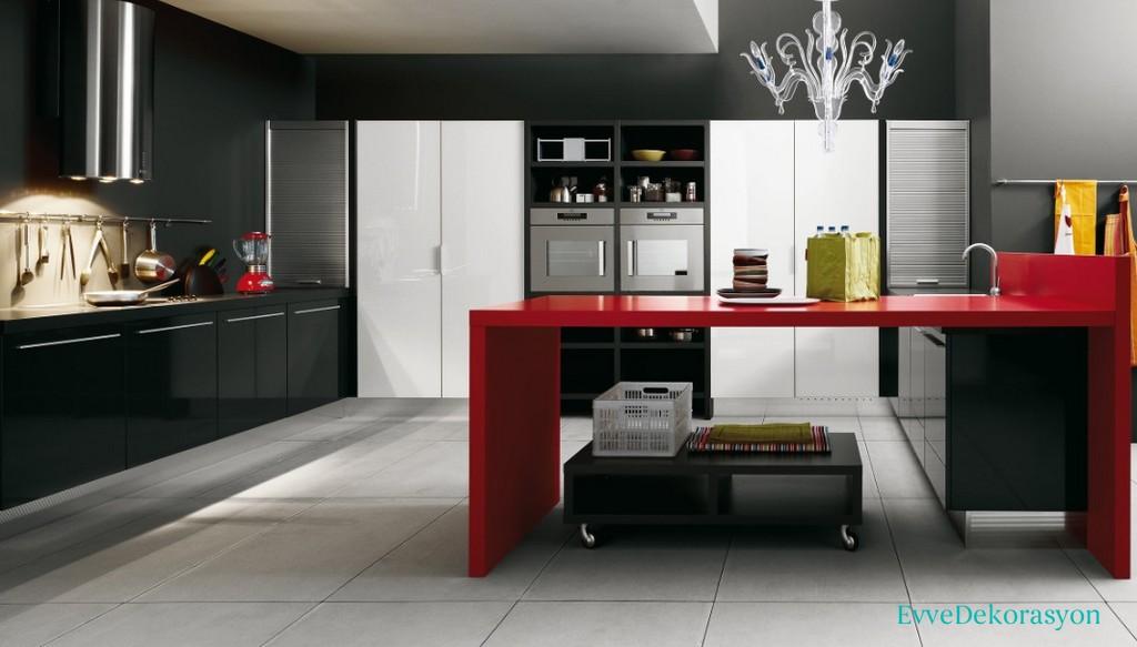 Kırmızı Ve Siyah Lake Mutfak Tasarımları Ve Fikirleri