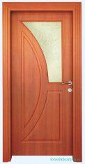Kızıl Renk Desenli Ahşap Ev Kapısı